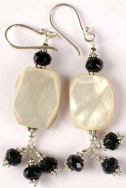 Shell and Black Onyx Earrings