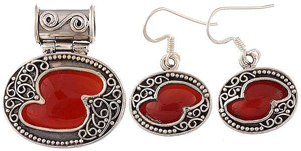 Carnelian Pendant with Earrings Set