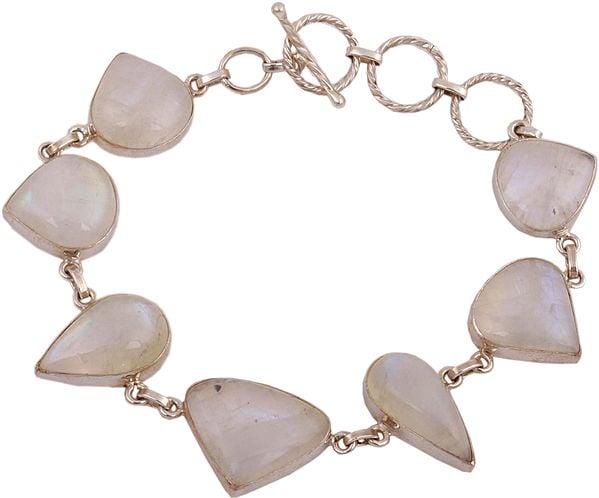 Pear-Cut and Trillion Rainbow Moonstone Bracelet