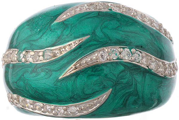 Inlay Finger Ring with CZ