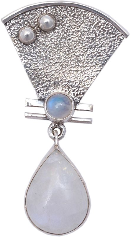 Tear-Drop Moonstone Embellished Pendant with Triangular Spacer