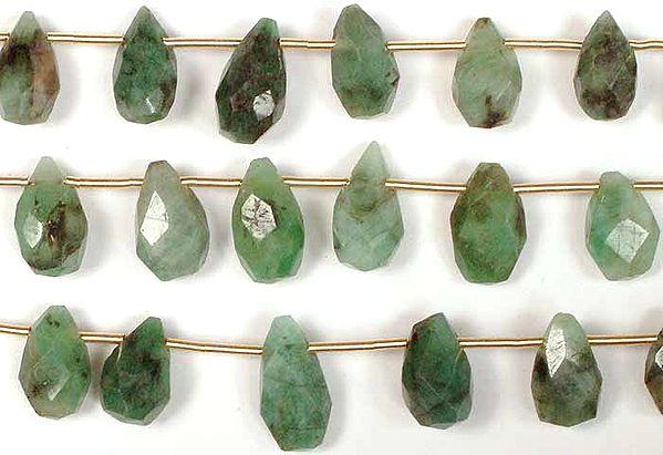 Emerald Faceted Drops