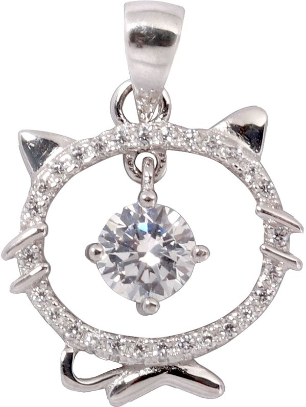 Sterling Kitty Pendant Studded with Zircon and CZ