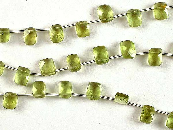 Side Drilled Faceted Peridot Rectangles