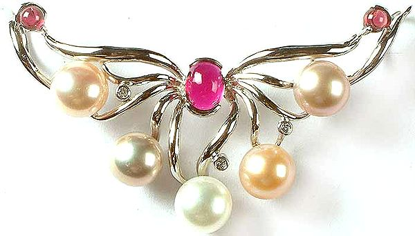 Gemstone Pendant (Garnet, CZ and Pearl)