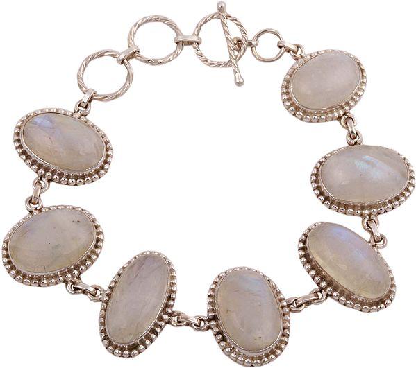 Cabochon Rainbow Moonstone Studded Bracelet