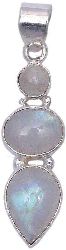 Sterling Three Moonstones Embellished Pendant