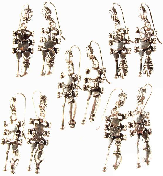 Lot of Five Sterling Earrings