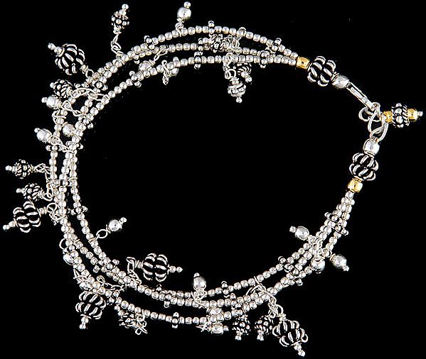 Sterling Beaded Bracelet with Gold Plated Beads