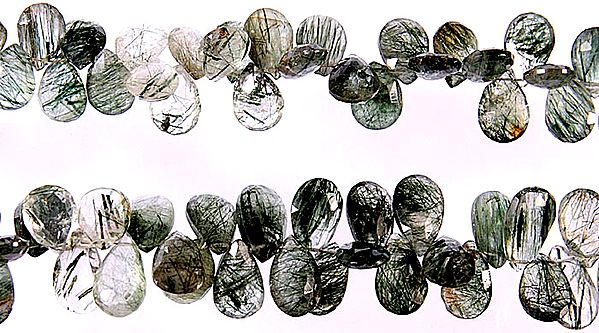 Faceted Tourmalinated Quartz Briolette