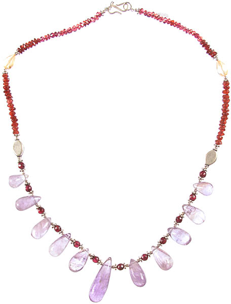 Gemstone Necklace (Amethyst, Garnet and Citrine)
