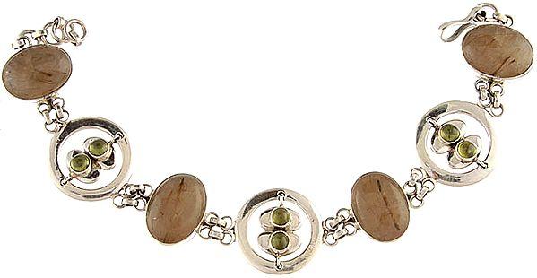 Rutilated Quartz Bracelet with Peridot
