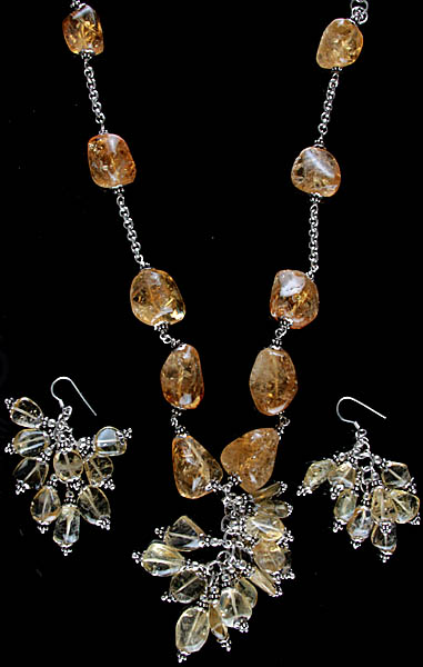 Citrine Nuggets Necklace with Earrings Set
