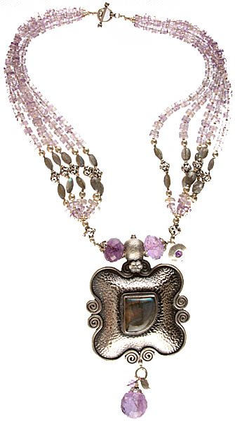 Faceted Amethyst and Labradorite Fine Necklace
