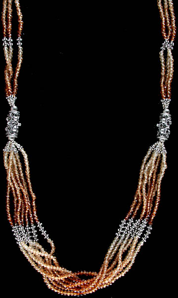 Hessonite Israel Cut Beaded Bunch Necklace