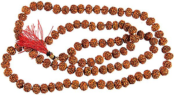 Rudraksha Mala with 108 Beads for Chanting (Mixed Color Thread)