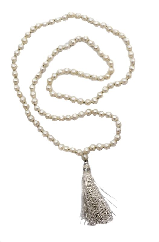Pearl Rosary with 108 Beads for Chanting Mantras or Syllables or Name of God