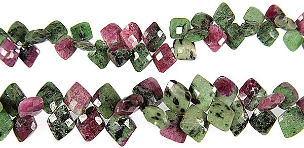 Side-drilled Faceted Ruby Zoisite Rhombuses