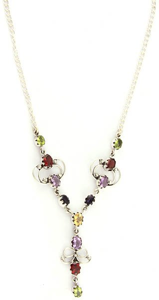 Faceted Gemstone Necklace (Peridot, Garnet, Amethyst, Iolite and Citrine)