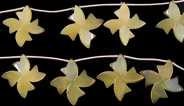 Carved Yellow Chalcedony Flowers