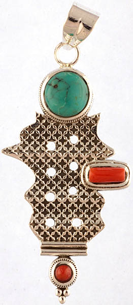 Turquoise and Coral Pendant