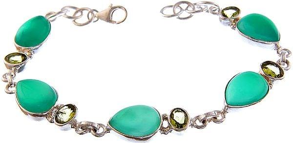 Green Onyx Bracelet with Peridot