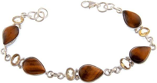 Tiger Eye Bracelet with Citrine