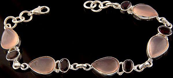 Rose Quartz Bracelet with Garnet