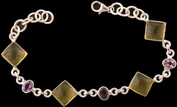 Lemon Topaz Bracelet with Amethyst