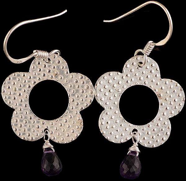 Faceted Amethyst Flower Hoop Earrings