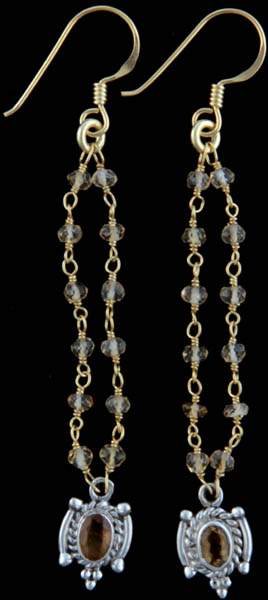 Faceted Citrine Dangling Earrings