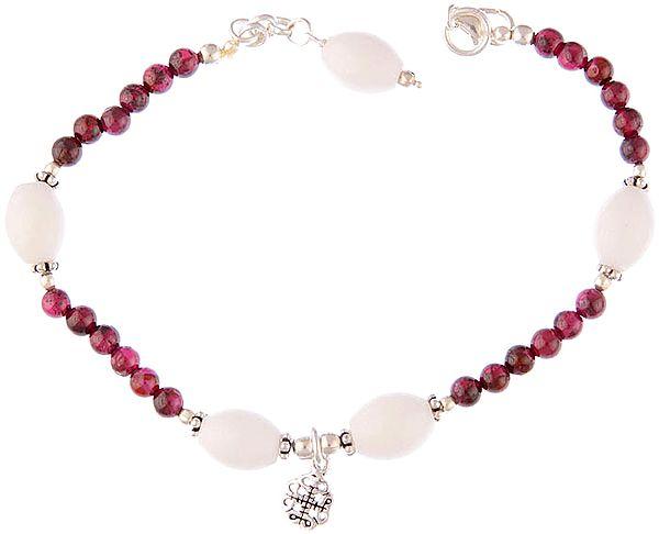 Garnet Bracelet with White Marble
