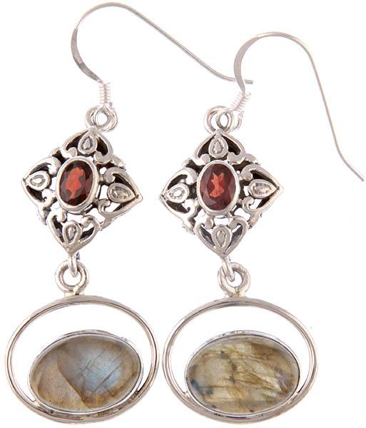 Labradorite Earrings with Garnet