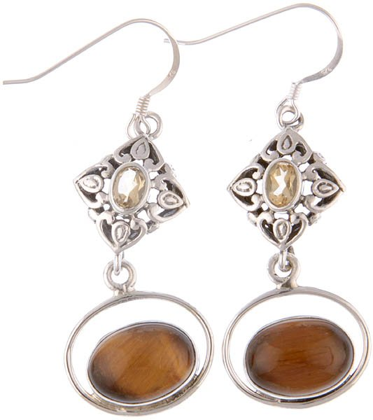 Tiger Eye and Faceted Citrine Earrings