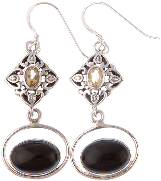 Black Onyx and Citrine Earrings