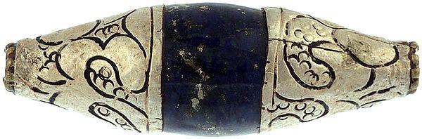 Lapis Lazuli Mridangam with Silver Caps (Price Per Piece)