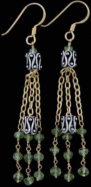 Faceted Peridot Shower Earrings