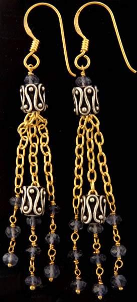 Iolite Earrings with Filigree