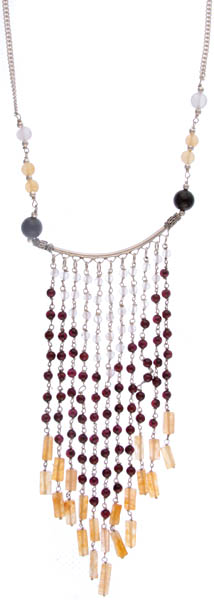 Gemstone Chandelier Necklace (Black Onyx, Rose Quartz, Yellow Aventurine and Garnet)