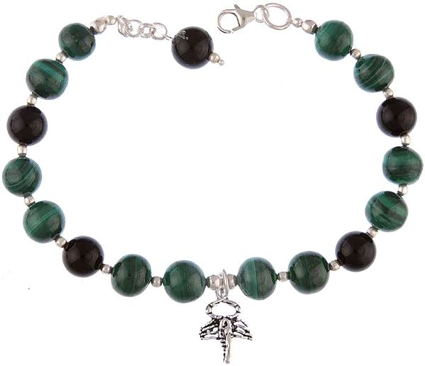Malachite and Black Onyx Bracelet with Elephant Head Charm