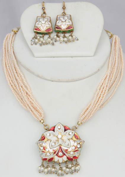Ivory Star-Spangled Necklace and Earrings with Peacocks on Reverse