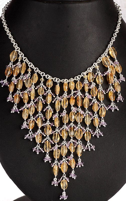 Faceted Citrine and Amethyst Marvel Necklace