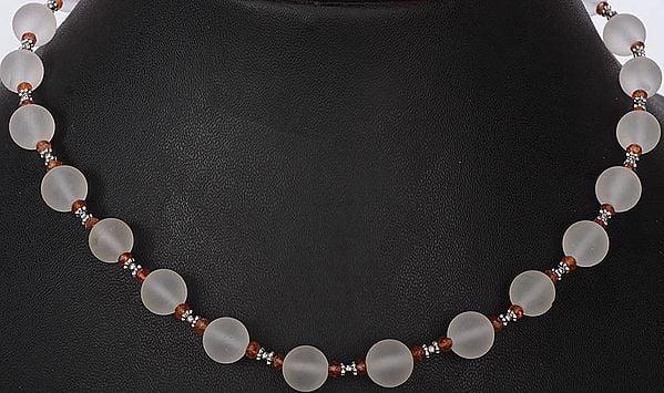 Frosted Crystal Beaded Necklace Fanta Garnet