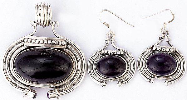 Amethyst Pendant with Earrings Set