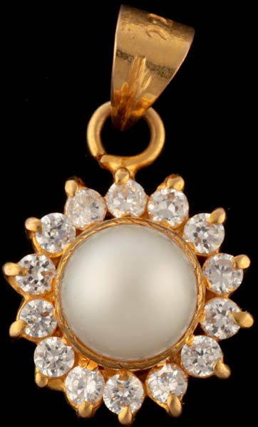 Pearl Pendant with CZ