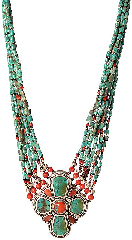 Coral and Turquoise Necklace from Afghanistan