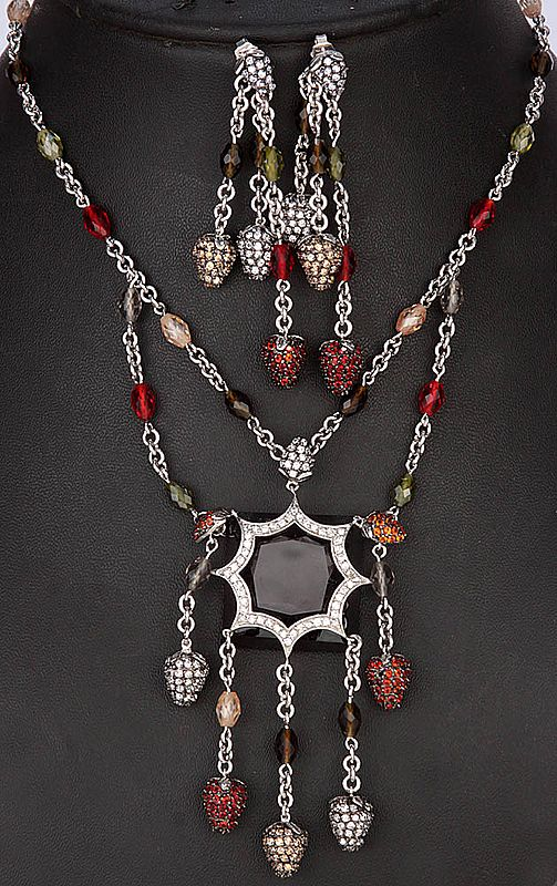 Coloured Glass-Gems Necklace With Star-Shaped Drops Pendant And Matching Bunched Danglers