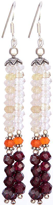 Faceted Gemstone Shower Earring (Carnelian, Garnet)