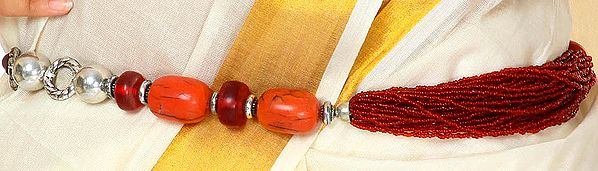 Coral Color Beaded Bunch Belt - belly-chain
