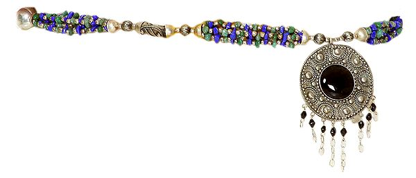 Multi-color Beaded Belt with Dangle - belly-chain